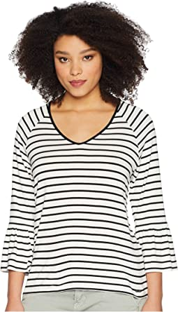 Stripe V-Neck with Flare Sleeve