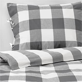 Ikea New Dark Gray Emmie Ruta Cottage Plaid Full Queen 3 Pc Duvet Quilt Cover Set