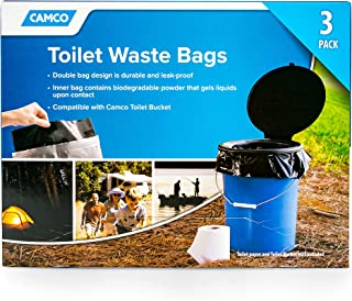 Camco Toilet Waste Durable Double Design is Leak-Proof, Inner Bag Gels Any Liquid, for Camping, Hiking and Hunting and More, 3 Pack (41547)