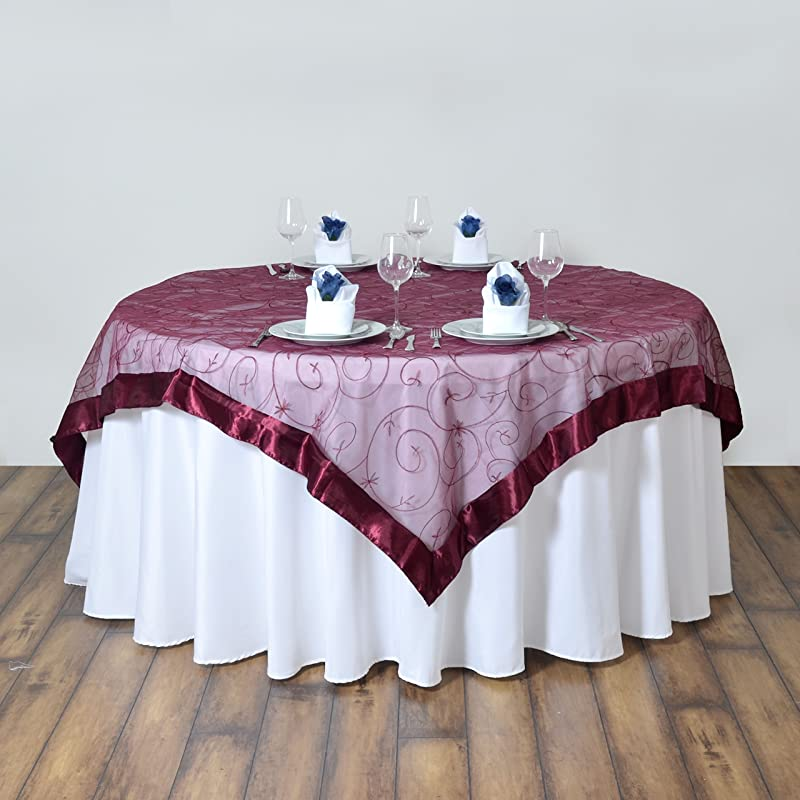 BalsaCircle 72x72 Inch Burgundy Embroidered Sheer Organza Table Overlays Wedding Reception Party Catering Table Linens Decorations
