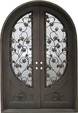 MCM3 High-end Double Wrought Iron Entry Doors,Aged Bronze,traditional Design,LOW-E Double Glass,8.34 ftx5.67 ft