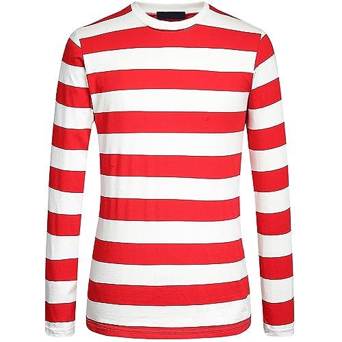 a14815d476e0 Camii Mia Men s Cotton Crew Neck Long Sleeves Stripe T-Shirt