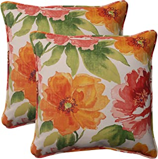 "Pillow Perfect 503202 Outdoor/Indoor Muree Primrose Throw Pillows, 18.5"" x 18.5"", Orange, 2 Pack"