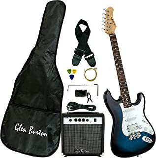 Glen Burton GE101BCO-BLS Electric Guitar Stratocaster-Style Combo with Accessories and Amplifier, Blueburst