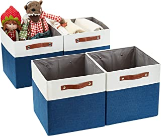 DECOMOMO Foldable Storage Bin [4-Pack] Collapsible Sturdy Cationic Fabric Storage Basket Cube W/Handles for Organizing She...