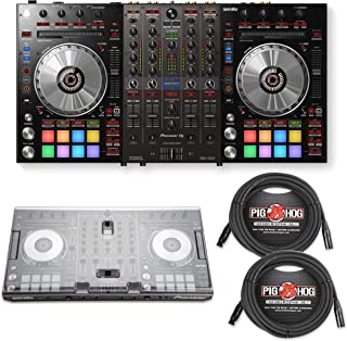Pioneer DJ DDJ-SX3 Flagship 4-Channel Controller with Decksaver Protective Cover & PigHog 25ft XLR Cables