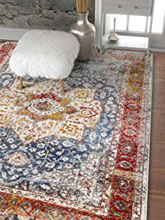 Well Woven Amestris Blue & Red Modern Heriz Vintage Distressed Medallion Area Rug 8x11 (7'10
