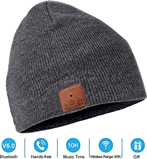 iMusic Peaked Hat Built In Wired Speaker Headphone Beanie Hat Charcoal Grey