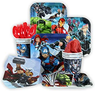 Marvel Epic Avengers Party Pack Seats 8 - Napkins, Plates, Cups, Cutlery & Stickers - Marvel Epic Avengers Party Supplies, Standard Party Pack