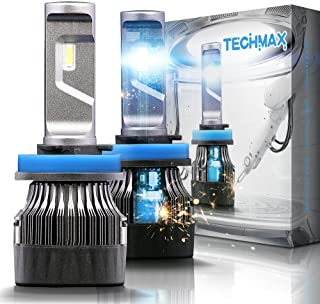TECHMAX Mini H11 LED Headlight Bulbs,60W 10000Lm 4700Lux 6500K Cool White Extremely Bright 30mm Heatsink Base CREE Chips H...