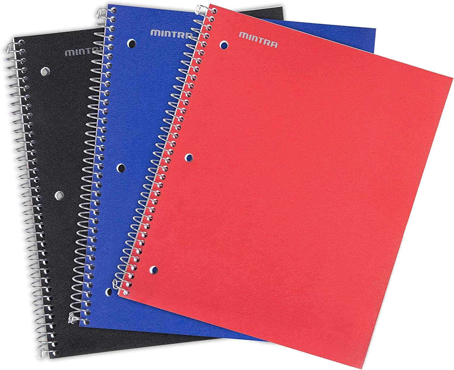 Arctic Ice, Chili Oil, Green Olive, Wide Ruled 3pk 1 Subject, Mintra Office Durable Spiral Notebooks