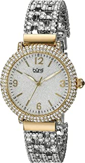 Burgi Women's BUR140 Swarovski Crystal Filled Gold and Silver Bracelet Watch