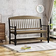 Christopher Knight Home Eddie Indoor Farmhouse Acacia Wood Bench with Shelf, Gray and Black Finish