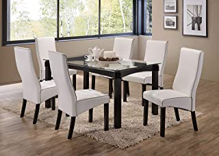 Kings Brand Furniture - Rectangle 7 Piece Kitchen Dining Set, Glass Top Table & 6 Chairs, White