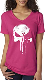 New Way 687 - Women's V-Neck T-Shirt New Daredevil Punisher Skull Logo