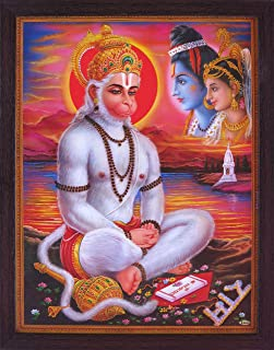 Hanuman Doing Meditation and Wearing Beautiful Mukut and Sita and Ram Looking at Him, a Holy Hindu Religious Poster Painting with Frame for Worship Purpose