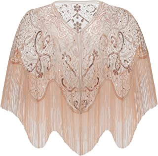 1920s Shawl Wraps Gatsby Beaded Evening Cape Bridal Shawl for Evening Dresses Wedding Party