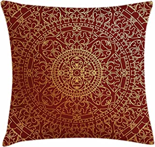 Funda de cojín de color granate con diseño de mandala oriental inspirado en étnico marroquí étnico, decorativo cuadrado, 45,72 cm de ancho por 45,72 cm de largo