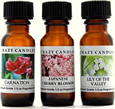 Crazy Candles 3 Bottles Set, 1 Carnation, 1 Japanese Cherry Blossom, 1 Lily of The Valley 1/2 Fl Oz Each (15ml) Premium Grade Scented Fragrance Oils