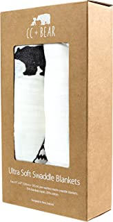 Extra Large Bamboo and Muslin Baby Swaddle Blankets 2-Pack, One White Solid Muslin and One Bear Design Gender Neutral Baby Swaddle Wrap Perfect for Baby Boy Or Baby Girl Baby Shower