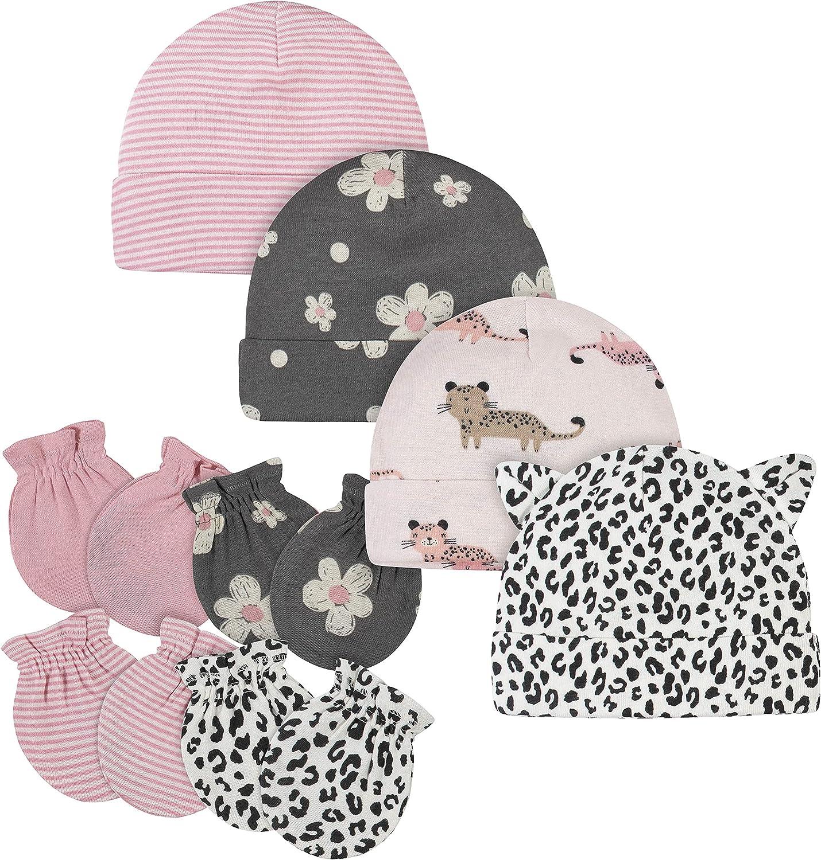 Gerber Baby Girls' 8 9-Piece Cap and Mitten Sets