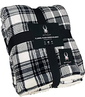 "Spyder Sherpa Lined Flannel Ultra Plush Bed Blanket Interwoven Strength (Black Smart Plaid, Full/Queen 90"" X 90"")"