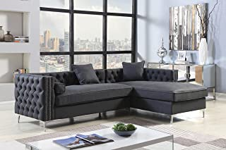 Iconic Home Da Vinci Right Hand Facing Sectional Sofa L Shape Chaise PU Leather Button Tufted with Silver Nailhead Trim Silvertone Metal Leg with 3 Accent Pillows, Modern Contemporary, Black