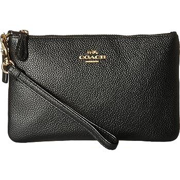 Coach Polished Pebble Small Wristlet Li Black One Size Handbags Amazon Com