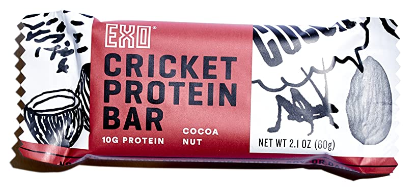 Exo Cricket Flour Protein Bars, Cocoa Nut, 12Count, 10g Protein, Paleo Friendly, Gluten-free, High Fiber, Dairy Free Energy Bars