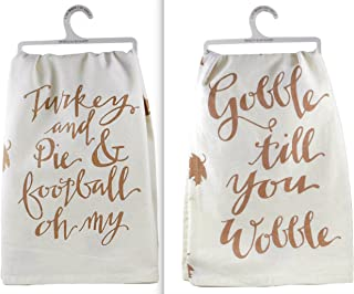 Primitives by Kathy Set of 2 Thanksgiving Dish Towels ~ Gobble Til You Wobble ~ Turkey Pie Football Oh My