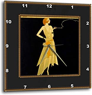 3dRose LLC Art Deco Lady on Black with Gold Frame 10 by 10-Inch Wall Clock