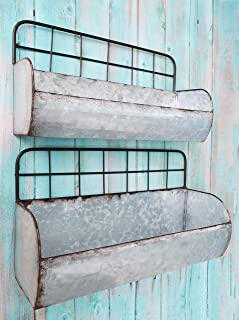 ShabbyDecor Galvanized Metal Industrial Wall Storage Holder, Set of 2 Rustic Tin Shelves