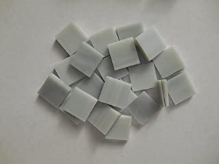FortySevenGems 100 Pieces Stained Glass Mosaic Tiles 1/2-Inch Gray & White Opaque Glass Textured
