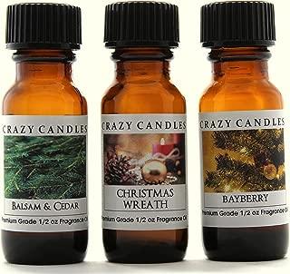 Crazy Candles 3 Bottles Set 1 Balsam & Cedar, 1 Christmas Wreath, 1 Bayberry 1/2 Fl Oz Each (15ml) Premium Grade Scented Fragrance Oils