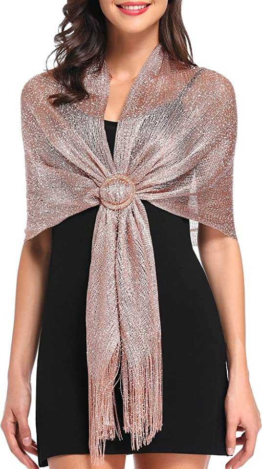 Sparkling Metallic Shawls and Wraps for Evening Party/Formal Dresses (With Free Shawl Buckle)