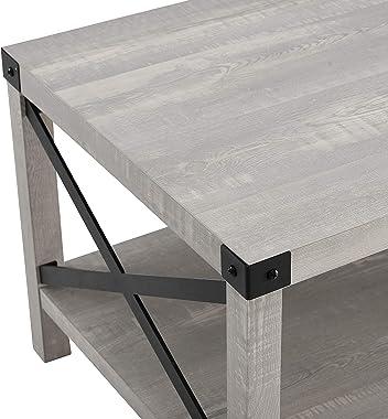 Walker Edison Sedalia Modern Farmhouse Metal X Coffee Table, 40 Inch, Stone Grey