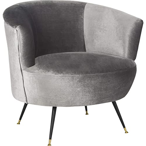 Safavieh Home Collection Arlette Retro Glam Grey Velvet Accent Chair Furniture Decor