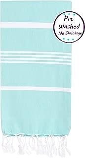 Prewashed, Soft Original Turkish Cotton Peshtemal Towels Pestemal Towel Best for Travel Camping Bath Sauna Beach Gym Pool Blanket Absorbent Stylish Eco friendly Thin Towels, Mint- Size 70x37 Inches