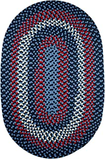 Super Area Rugs Homespun Braided Rug Indoor Outdoor Rug Textured Durable Blue Patio Deck Carpet, 5' X 8' Oval