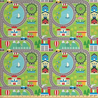 Ambesonne Car Race Track Fabric by The Yard, Cartoon Design Summer City Amusement Park and Lake Roadway Activity, Decorative Fabric for Upholstery and Home Accents, Multicolor