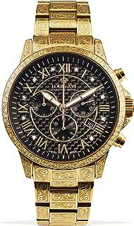 LOUIS XVI - Orologio da polso da uomo Palais Royale, cinturino in acciaio dorato, nero, carbonio, diamanti veri, numeri ro...