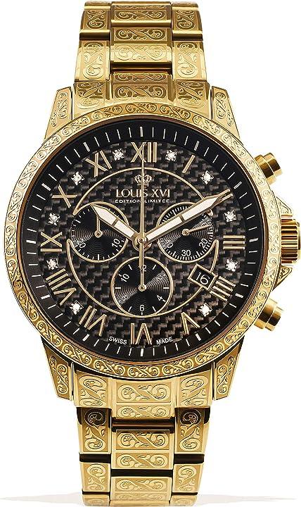 Orologio da polso da uomo palais royale, cinturino in acciaio dorato, nero, carbonio, diamanti veri louis xvi 1018