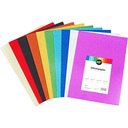 perfect ideaz 30feuilles de papier pailleté de couleur DIN-A4, set feuilles individuelles de bricolage pailletées, 10couleurs différentes, 160g papier de couleur pour bricoler