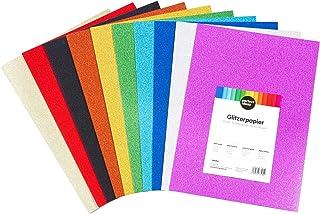 perfect ideaz 30feuilles de papier pailleté de couleur DIN-A4, set feuilles individuelles de bricolage pailletées, 10cou...
