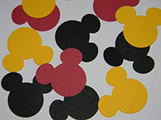 100 black, red and yellow Mickey Mouse head 1 inch die cuts party decor scrapbooking confetti