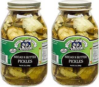 Amish Wedding Foods Bread N Butter Pickles 2 - 32 Oz Glass Quarts All Natural