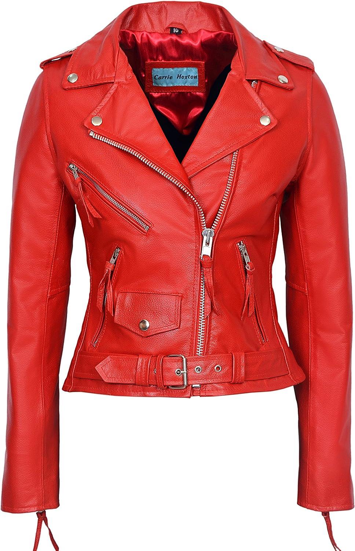 CLASSIC BRANDO Ladies Red Biker Style Motorcycle Cruiser Hide Leather Jacket