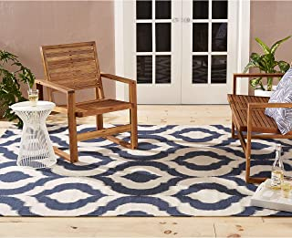 white and blue outdoor rug