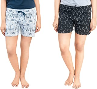 A9 Women's Cotton Printed Regular Shorts (Pack of 2)