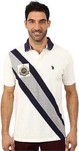 Diagonal Striped Pique Polo